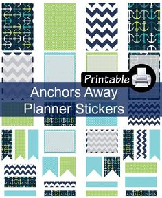 Anchors Away PDF PRINTABLE Planner Stickers for Happy Planner, Erin Condren Planner, Filofax, Plum Paper Decorating Kit by WhimsicalWende on Etsy