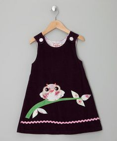 Take a look at this Purple Owl Cord Dress  by Powel Craft on #zulily today!
