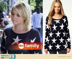 Hanna's navy blue star sweater on Pretty Little Liars.  Outfit Details: https://wornontv.net/6777/ #PLL