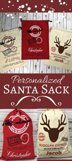 These Personalized Canvas Santa Sacks are the perfect addition under your tree! My kids would LOVE getting a special sack with their name from SANTA! Place all the gifts from Santa inside NO NEED TO WRAP THEM! #ad