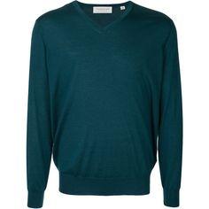Tomorrowland V-neck jumper (17.695 RUB) ❤ liked on Polyvore featuring men's fashion, men's clothing, men's sweaters, green, mens green sweater, mens vneck sweater, mens v neck sweater and mens green v neck sweater