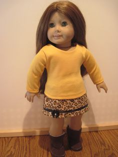 American Girl Doll Clothes Cheetah Animal Print Skirt w Top by GirlSewChic on Etsy