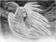 Zeichnung eines Engels mit Flügel in Wolken