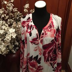 Liz Claiborne Floral Print Spring Blouse. Beautiful Liz Claiborne floral spring print blouse.  Brand New! With Tags! Light weight. Almost sheer. Liz Claiborne Tops Blouses