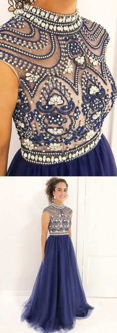 Beaded Top Long Prom Dresses with High Neck,Shine Pageant Dresses M1418