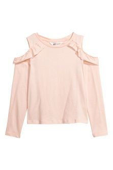Cold shoulder top in soft cotton jersey with a frill trim and long sleeves. H&m Kids, Children, Kids Clothing Brands, Justice Clothing, Pink Kids, Powder Pink, Online Shopping Clothes, Kids Wear, Kids Outfits