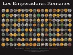 Roman Emperors Poster This beautiful poster is suitable for office or classroom and ready for framing. It features each of the Roman emperors through portraits from coins minted in their own lifetimes. Measures Ships worldwide in poster tube. Ancient Rome, Ancient History, Ancient Greece, Pax Romana, Roman History, Roman Emperor, Photo Work, Cause And Effect, Ancient Civilizations