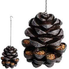 """""""Pinecone"""" bird feeder.  So cool! (but not exactly squirrelproof)"""