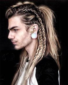 If youre a fan of braided hairstyles try the viking braid. Not only will it keep their hair out of the way and away from their faces which is key for all summer. 40 Coolest Viking Hairstyles Most Mens Braids Hairstyles, Trendy Hairstyles, Viking Hairstyles, Fantasy Hairstyles, Faux Hawk Hairstyles, Mohawk For Men, Mohawk With Braids, Male Braids, Viking Haircut