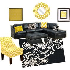 Love The Gray Wall Color... Goes Well With The Black Couch! Purple Accents,  Not Yellow | Decoração De Salas | Pinterest | Black Couches, Wall Colors  And ... Part 51