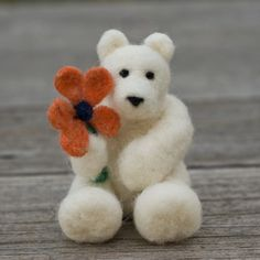 Needle Felted Bear - Holding Flower