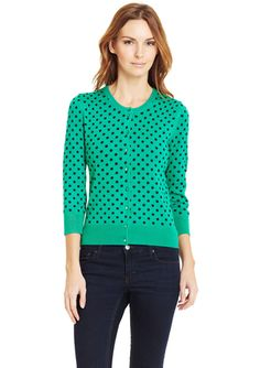SPENSE Polka-Dot Button Front Crew Neck Cardigan