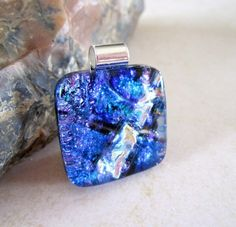 Decorative Blue with a silver/gold streak of Dichroic glass, Fused | bluskysglass - Jewelry on ArtFire