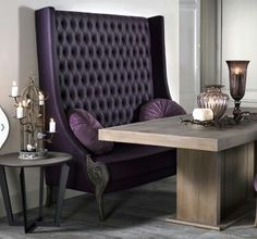 Deep purple tufted wing back chair