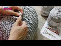 Kammgarn Spaghetti Garn Puff Making mit Kammgarn Kit (Mit Nadel) - 손뜨게 - Crochet Pouf, Crochet Motifs, Crochet Pillow, Crochet Yarn, Crochet Decoration, Crochet Home Decor, Baby Knitting Patterns, Crochet Patterns, Diy Pouf