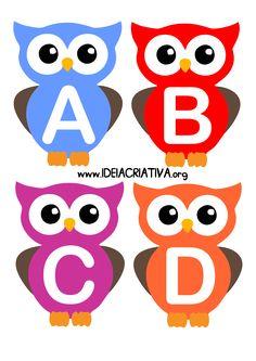 Ideia Criativa - Gi Barbosa Educação Infantil: Alfabeto Letra Bastão Corujinhas