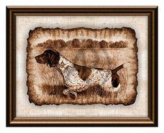 Germany Dog Pointer Art Portrait of Parchment,Dog Printable Art,Wall Art,Home Decor,Portrait,Germany Pointer Dog Art,Instant Download