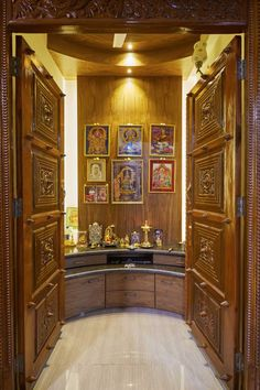 9 Wooden Pooja Mandir Designs for Homes -- Traditional, Portable & Wooden Temple For Home, Temple Design For Home, Indian Home Design, Indian Home Interior, Small Room Interior, Small House Interior Design, Bungalow House Design, Wooden Partition Design, Room Partition Designs