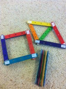 Stick velcro onto Popsicle sticks so kids can stack them or make shapes out of them.  Great travel toy.