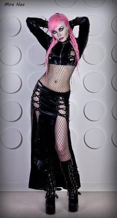 04 mira nox pink hair dreadlocks vinyl cyber goth by MiraNox.deviantart.com on @deviantART