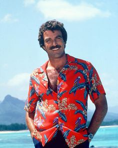Magnum, P. Tom Selleck in classic red Hawaiian Shirt Poster Unique inch poster on archival paper. Only from Silver Screen. Will look stunning in your home or office Movie Market, Magnum Pi, Hallowen Costume, Halloween, Photo Vintage, Blue Bloods, Raining Men, My Guy, Movie Stars