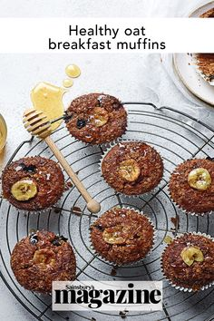 Packed with cereal, fruit and yogurt, these little oat muffins make the perfect healthy breakfast. You can mix up the fresh and dried fruit or add some chopped toasted nuts to vary the flavour. Get the Sainsbury's magazine recipe Cereal Recipes, Muffin Recipes, Baking Recipes, Oat Muffins, Breakfast Muffins, Magazine Recipe, Healthy Food, Yummy Food, How To Make Breakfast
