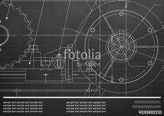 Вектор: Vector drawing. Mechanical drawings on a black background. Engineering illustration. Corporate Identity. Grid #bubushonok #art #bubushonokart #design #vector #fotolia #technical #engineering #drawing #blueprint #technology #mechanism #draw #industry #construction #cad