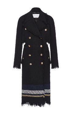 Striped Tweed Open Back Trench Coat by SONIA RYKIEL