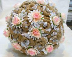 Burlap Wedding Alternative Bouquet Rustic Bouquet Handmade
