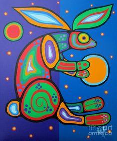 Rabbit Painting - Waboose by Jim Oskineegish American Indian Art, Native American Art, American Modern, Aboriginal Artwork, Woodland Art, Haida Art, Rabbit Art, Indigenous Art, Button Art