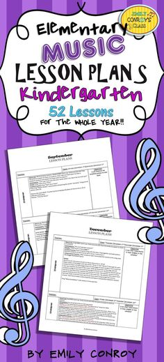 Kindergarten Music Lesson Plans are creative and concise and for the whole year! They contain song, activity, and game ideas for elementary music teachers.