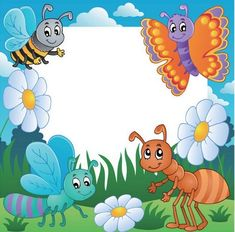 Frame with bugs theme 3 - vector illustration. Borders For Paper, Borders And Frames, Diy And Crafts, Crafts For Kids, Photo Frame Design, Clip Art, Writing Paper, Cartoon Drawings, Decoupage