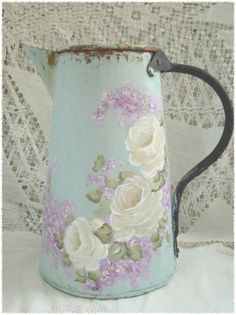 ♥Vintage can~paint robin egg blue add white Roses