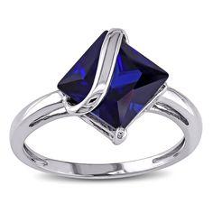 Miadora 10k White Gold Created Sapphire Ring (Size 9), Women's, Blue