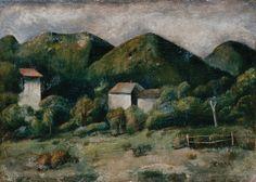 Carlo Carrà - Paesaggio di Valsesia (Casine nel piano), 1924.