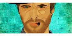 """Clint Eastwood - """"The good, the bad and the ugly"""" by Julia Guedes, via Behance  #Ilustration #DigitalArt #ClintEastwood #Cinema #TheGoodTheBadAndTheUgly"""
