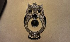 Rhinestone Owl Pendant Large 74x47mm Crystal by CherylsGoodStuff, $4.50