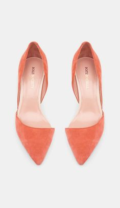 Sole Society coral, pointed-toe flats