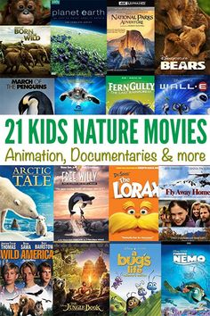 21 great nature movies for kids - great for school, homeschool or family movie night. Family Movie Night, Family Movies, Science For Kids, Science And Nature, New York Zoo, Nature Movies, Science Movies, Best Kid Movies, Free Willy