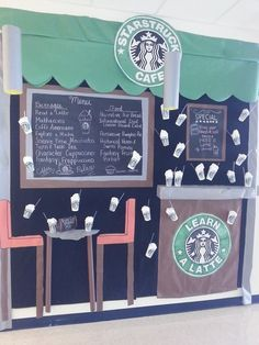 angle of the STARBUCKS themed board.we learn a latte in angle of the STARBUCKS themed board.we learn a latte in Middle School Classroom, Classroom Setting, Classroom Door, Classroom Setup, Classroom Design, Classroom Displays, Future Classroom, Classroom Organization, Library Displays