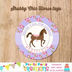 SHABBY CHIC HORSE favor tags in purple - you print by PrettyPartyCreations on Etsy