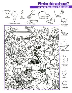 These printable hidden picture worksheets can entertain kids and the parents too! Below you will find some free printable hidden pictures that are going to be something your kids don't just like but love. Hidden Object Puzzles, Hidden Picture Puzzles, Hidden Objects, Puzzles For Kids, Worksheets For Kids, Printable Worksheets, Free Printables, English Activities, Activities For Kids