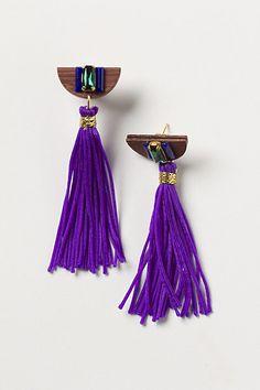purple tassel earrings from Anthro