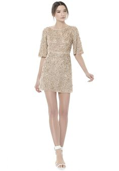 Drina Bell Sleeve Short Dress by Alice & Olivia in Rosegold color.