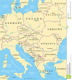 Illustration about Central Europe Political Map with capitals, national borders, rivers and lakes. Illustration of republic, poland, country - 50427025 Europe Centrale, Riga Latvia, Central Europe, Historical Maps, Poland, Illustration, Vector Free, Art Drawings, Politics