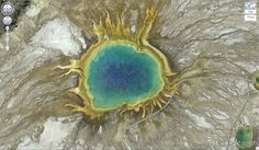 Grand Prismatic Spring 44.525049, -110.83819 Yellowstone National Park, Wyoming, USA 50 Amazing Finds on Google Earth