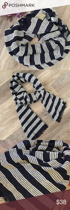 """J. CREW BLUE STRIPED SCARF WITH FRINGE Beautiful J. crew blue striped scarf with fringe🔹Perfect fall staple🔹56% viscous, 44% cotton🔹 84"""" long, 28.5 wide 🔹NO trades🔹Smoke free home🔹Bundle discount: 10% off three, 15% off three🔹Please visit our wonderful friend Molinda @molinda25 for more  J. crew treasures🔹Thank you for stopping by💕 J. Crew Accessories Scarves & Wraps"""