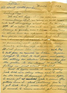 Dorothy Lynch letter to her sister about the Long Beach Earthquake, March 11, 1933.