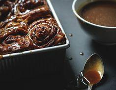 Pumpkin cinnamon rolls with chai buttermilk glaze.