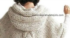 Cómo tejer capucha poncho dos agujas Crochet Poncho Patterns, Chrochet, Boho Dress, Couture, Knitting, Lana, Womens Fashion, Sweaters, Crafts